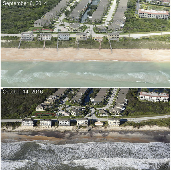 Photos taken before Hurricane Matthew (Sept. 6, 2014) and after (Oct. 14, 2016) show that the storm washed away a 16-foot sand dune, destroying boardwalks and decks and exposing a seawall at Vilano Beach, Fla.