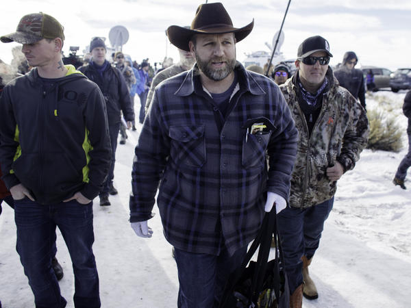 Ammon Bundy (center) and six other militants were aquitted in October after they occupied the Malheur National Wildlife Refuge Headquarters in Burns, Ore., last January. The acquittal has emboldened the movement's militia followers, who claim the federal government has no right to own public land.