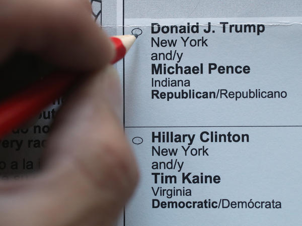 An American expat in Germany marks the Maryland ballot for the 2016 U.S. presidential election.
