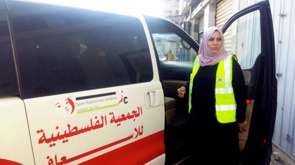 Hanan Abu Qassem is the first female EMT to staff professional soccer games in Gaza.