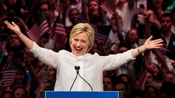 Hillary Clinton claims victory in the Democratic primary in the Brooklyn Navy Yard on June 7, 2016.