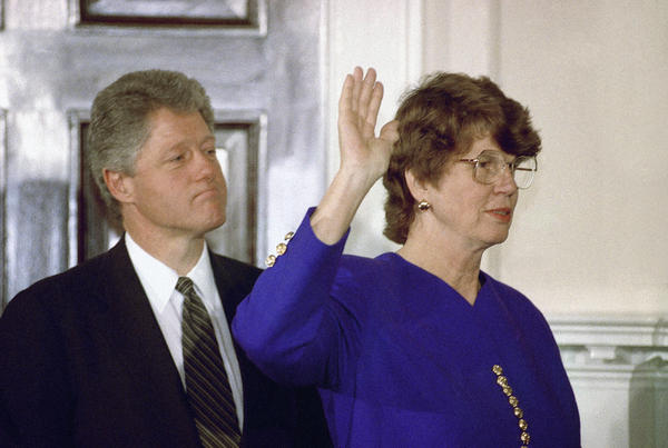Janet Reno takes the oath as attorney general during a ceremony at the White House on March 12, 1993, while President Bill Clinton watches.