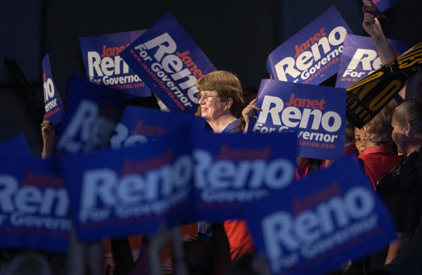 Florida gubernatorial candidate and former U.S. Attorney General Janet Reno speaks at the Florida Democratic Party State Conference on April 13, 2002, in Lake Buena Vista, Fla. She lost the Democratic primary.