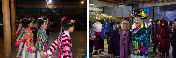 (Left) In the most developed village of Luoshui, every family sends a member to a sort of nightly barn dance for tourists, and gets a cut of the ticket sales. (Right) Nazhu Zhuoma poses with a tourist for a photo after the performance.