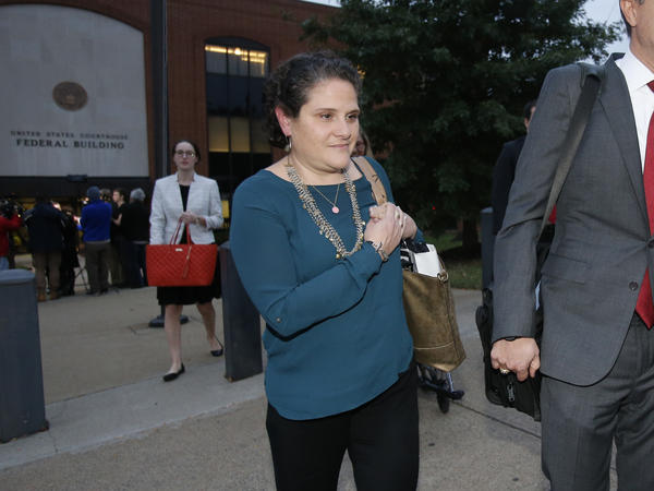 University of Virginia administrator Nicole Eramo  leaves federal court after closing arguments in her defamation lawsuit against Rolling Stone magazine in Charlottesville, Va., last week.