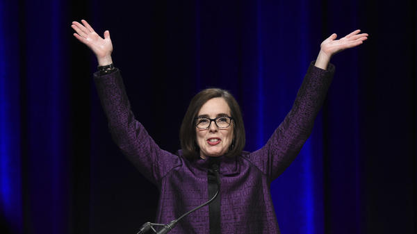 Oregon Gov. Kate Brown speaks to the crowd of supporters after being elected at the convention center in Portland, Ore., on Tuesday.