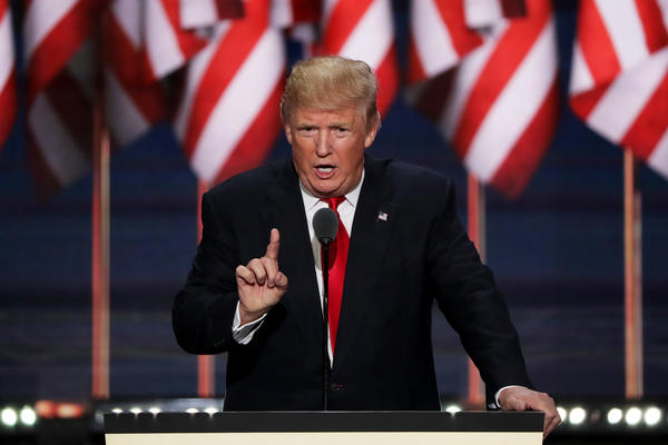 Donald Trump delivers a speech during the final day of the Republican National Convention on July 21 in Cleveland. The convention was rocky when Sen. Ted Cruz was refusing to endorse him and Ohio Gov. John Kasich was boycotting the proceedings.
