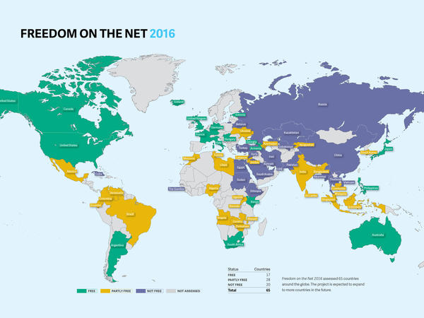 Freedom House reviews restrictions to Internet access and how it's used around the world, weighing whether countries are free, partly free or not free in terms of Internet freedom.