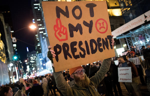 Anti-Donald Trump protesters march in the street on Fifth Avenue in New York City Friday, in another night of protests over the president-elect.
