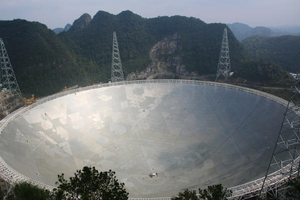 The world's largest radio telescope is nestled among the jagged, green mountains of southwest China's Guizhou Province.