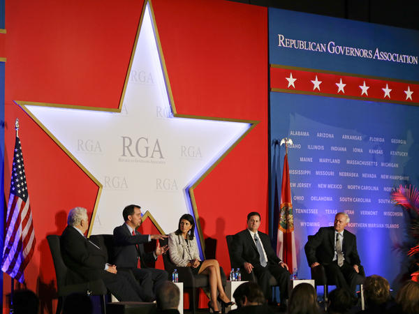 Members of the Republican Governors Association hold a plenary session at their conference in Orlando, Fla., on Tuesday.