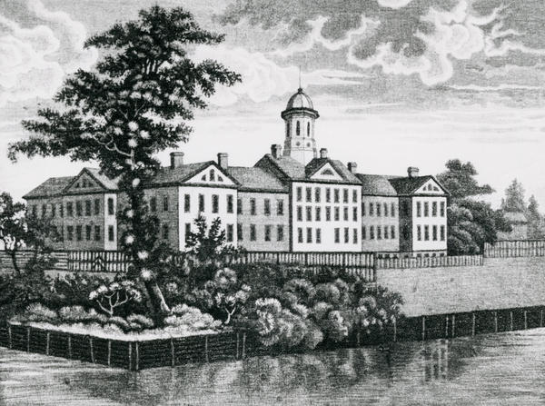 Opened in 1816 on the old Bel-Vue estate bordering the East River, the so-called Bellevue Establishment was the largest and most expensive building project in the city's history to date, containing an almshouse, an orphanage, a lunatic asylum, a prison and an infirmary. An infectious disease hospital would be added in 1826.