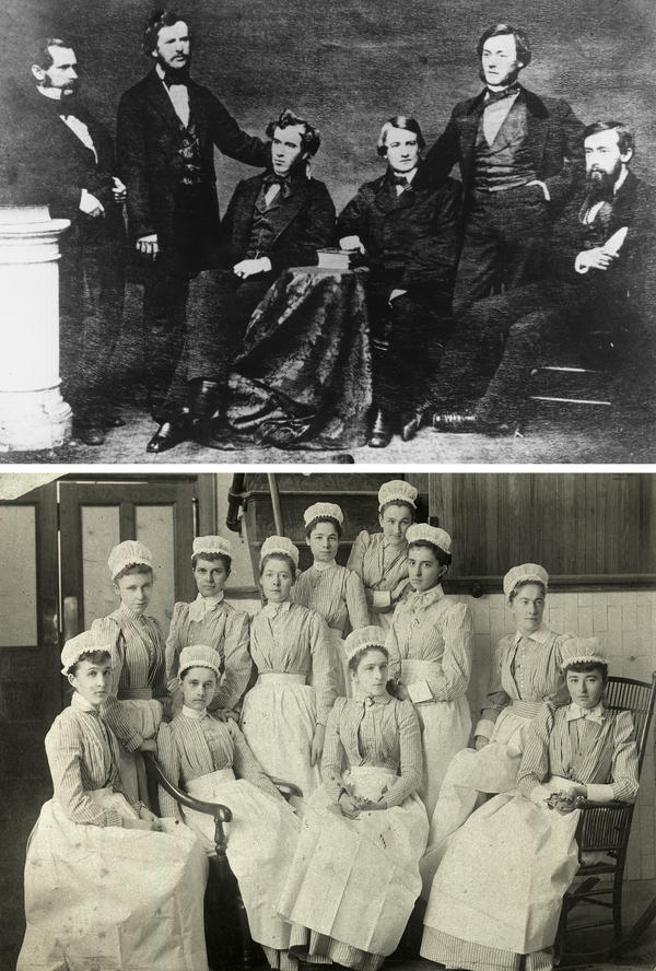 """Bellevue's first class of interns, top, circa 1856.<strong> </strong>At bottom, America's first professional nursing school opened at Bellevue in 1873. Preferring single, literate, religious women from cultivated families, it rejected most applicants on account of """"bad breeding."""""""
