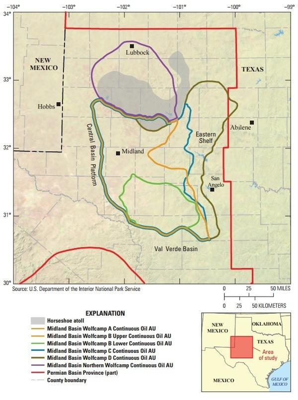 A map of the Wolfcamp shale formation. The red line denotes the boundary of the Permian Basin province; the rest of the thick colored lines denote areas of newly discovered petroleum, at varying depths.