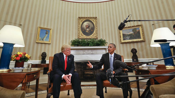 President Barack Obama meets with President-elect Donald Trump in the Oval Office on Nov. 10, two days after the election.