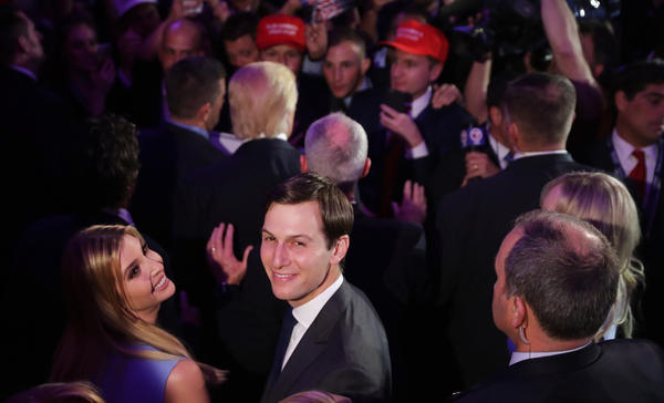 Jared Kushner and his wife, Ivanka Trump, acknowledge the crowd at the New York Hilton Midtown in the early morning hours of Nov. 9 in New York City.