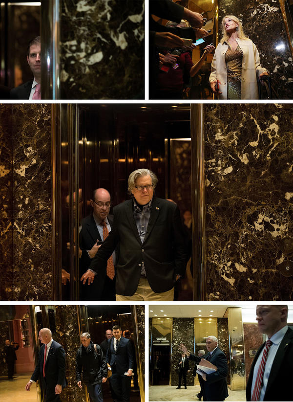 Over the course of the past week, Trump advisers including Kellyanne Conway, his children, Steve Bannon, Michael Flynn and Vice President-elect Mike Pence have circled through the lobby.