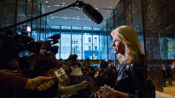 Kellyanne Conway, a senior adviser to President-elect Donald Trump, speaks to the media at Trump Tower on Monday.