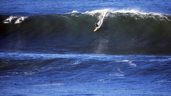 "Sarah Gerhardt surfs Mavericks in northern California.<a href=""http:// www.otwfront.com"" target=""_blank""></a>"