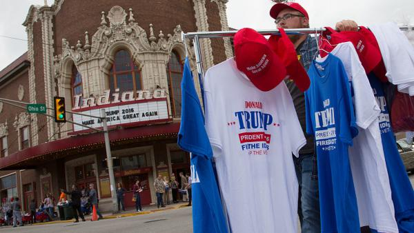 Vendors congregated outside a rally for Republican presidential candidate Donald Trump at the Indiana Theater on May 1, 2016 in Terre Haute, Indiana.