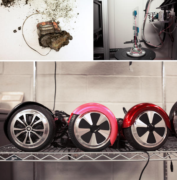 "Researchers at the National Product Testing and Evaluation Center investigate a wide array of products, including lithium-ion batteries (top left) from defective ""hoverboard"" scooters (bottom). They use a giant CT scanner to make high-resolution 3-D images and analyze products, such as cellphone charging cords (top right)."