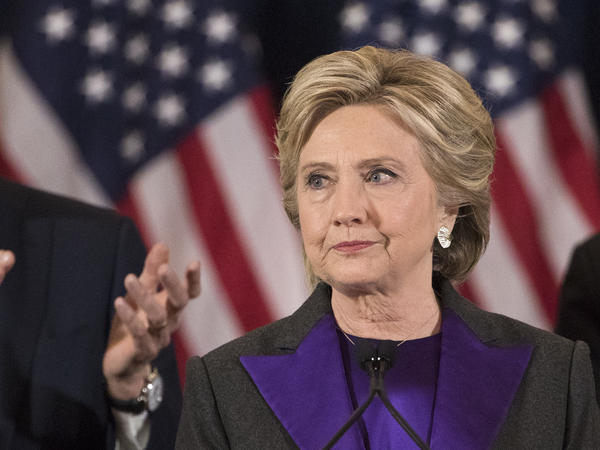 Democratic presidential candidate Hillary Clinton delivers her concession speech in New York on Nov. 9. Her campaign announced Saturday it will back recount efforts in three states.
