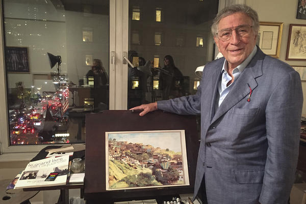 Tony Bennett with some of his artwork in his Central Park South studio in New York. (Robin Young/Here & Now)