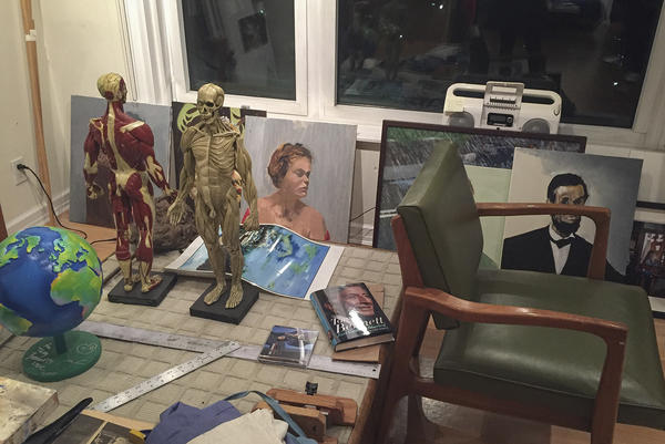 A corner of Bennett's studio. (Robin Young/Here & Now)