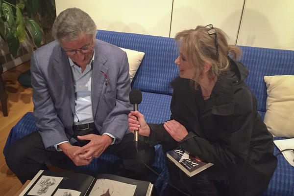 Here & Now's Robin Young speaking with Tony Bennett in his Central Park South studio in New York. (Karyn Miller-Medzon/Here & Now)