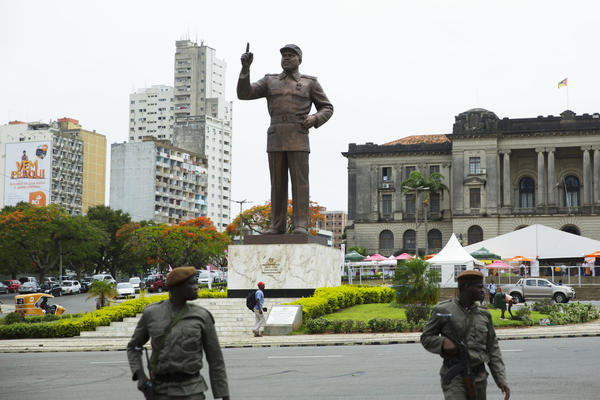 A statue of Mozambique's first president, Samora Machel, at a city square in the capital Maputo. The monument is one of many similar statues built throughout Africa by North Korean workers. The United Nations on Wednesday banned the export of North Korean monuments, saying the government was earning hard currency that could be used to advance its nuclear program.