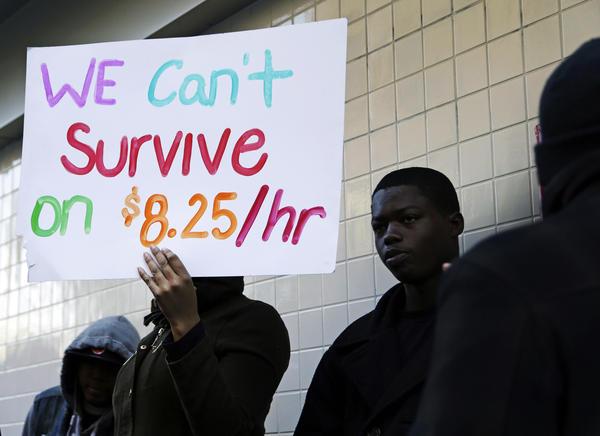 Protestors demonstrate in 2013 outside a McDonald's restaurant in Oakland, Calif.