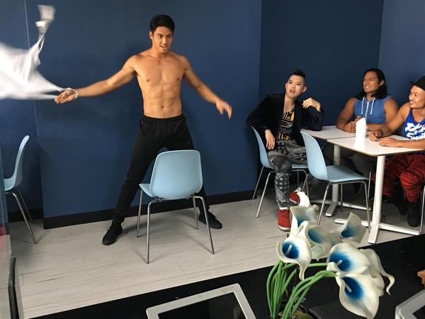 A behind-the-scenes shot from <em>It's Asian Men!</em>