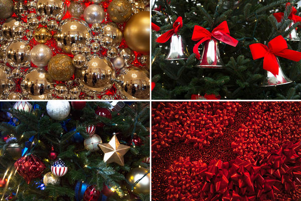 A variety of ornaments and decorations hang throughout the house. Most of the decoration designs this year use repurposed ornaments and embellishments that were already part of the White House holiday inventory.
