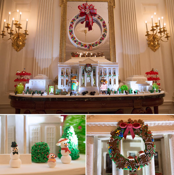 This year's White House Gingerbread House is made with 150 pounds of gingerbread, 100 pounds of bread dough, 20 pounds of gum paste, 20 pounds of icing and 20 pounds of sculpted sugar pieces. It also features both the East and West Wings.