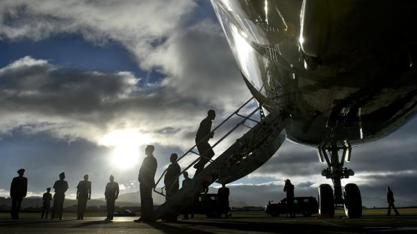 President Obama boards Air Force One during a refueling stop Nov. 18 in the Portuguese islands of Azores.