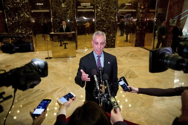 Chicago Mayor Rahm Emanuel speaks with members of the media after meeting with President-elect Donald Trump at Trump Tower in New York on Wednesday.