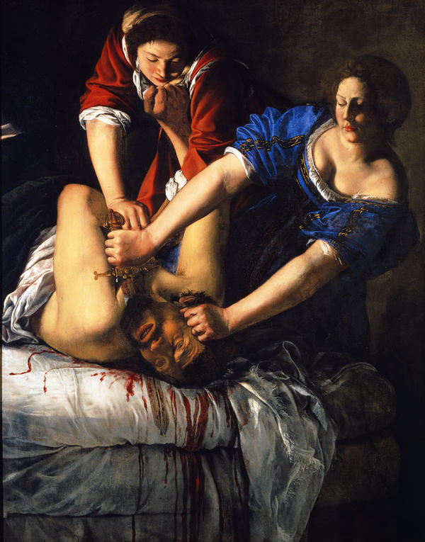 In the course of her career, Artemisia Gentileschi painted various depictions of the biblical figure Judith, including this work,<em> Slaying Holofernes. </em>In the Old Testament, Judith seduces the besieging general Holofernes and decapitates him in his bed.