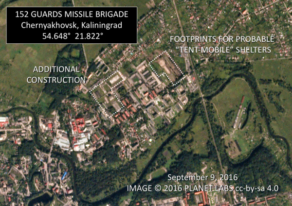 A satellite image shows ground being cleared in Kaliningrad for tentlike shelters used at other Iskander bases.