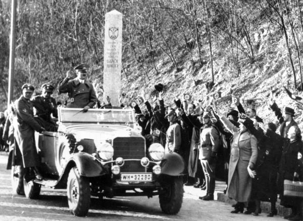 Adolf Hitler enters the city limits of Vienna, Austria, on Mar. 14, 1938.