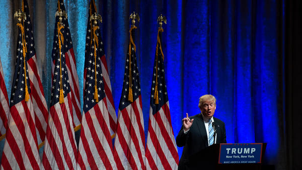 Republican presidential candidate Donald Trump speaks July 16 in New York City. The president-elect's Twitter habit could run up against cybersecurity recommendations once he's in office — but he may also choose to disregard that advice to keep his direct channel to the public open.
