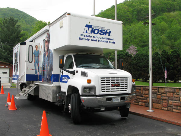 A NIOSH black lung surveillance van at the fire station in Wharton, W.Va., in 2012.