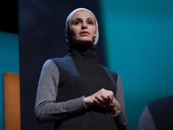 Suzanne Barakat speaking at TEDWomen 2016.
