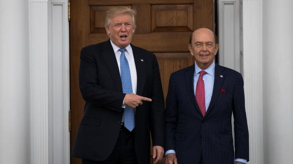 President-elect Donald Trump and investor Wilbur Ross, his nominee for commerce secretary, pose for a photo following their meeting at Trump International Golf Club in Bedminster, N.J., on Nov. 20.