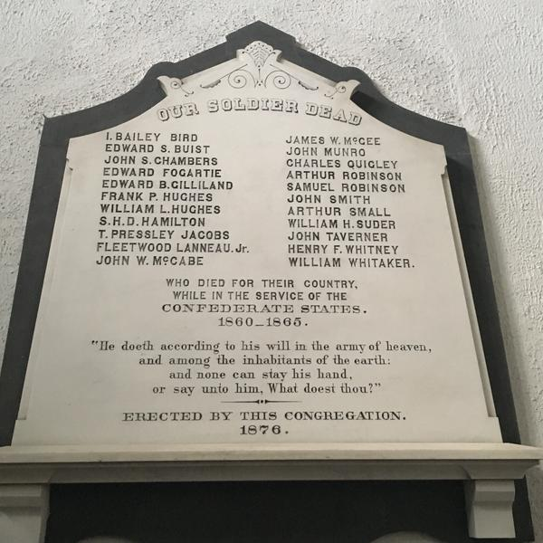 A plaque at the main entrance of Second Presbyterian Church in Charleston, S.C., memorializes Confederate soldiers from the congregation who died during the Civil War.