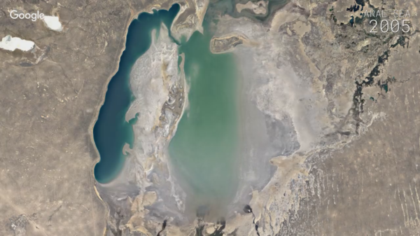 Google Earth's time-lapse videos show see how the planet's surface has changed over time — like the evaporation of the Aral Sea (above).