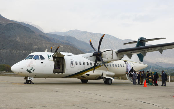 One of the fleet of turboprop ATR planes from Pakistan International Airlines. After a Dec. 7 crash, the ATRs were grounded — and resumed flying (after a goat sacrifice) on Sunday.