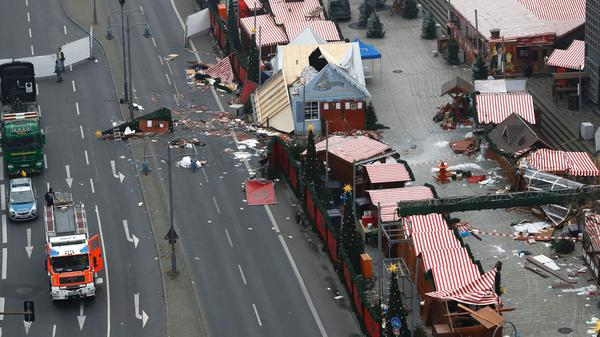 A Christmas market in central Berlin is seen on Tuesday, a day after a truck smashed into the market, killing 12 people and injuring dozens more.
