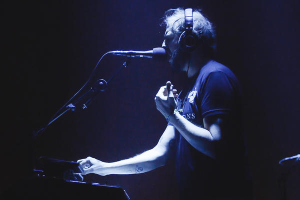 Justin Vernon at his console during Bon Iver's Dec. 4, 2016 show in Brooklyn, N.Y.