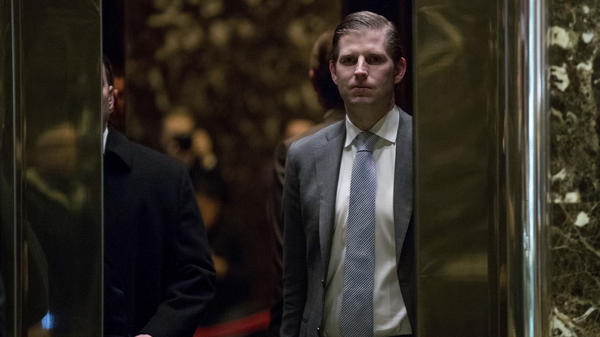Eric Trump arrives at Trump Tower in New York on Dec. 8.