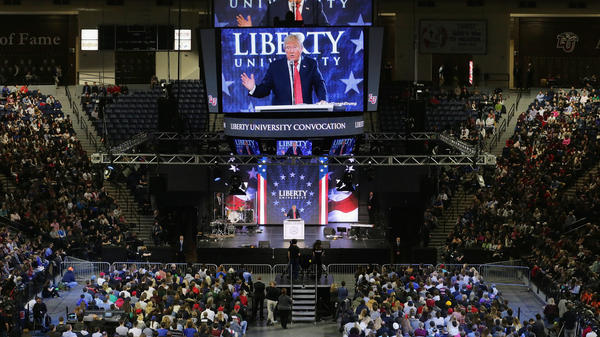 Trump delivered the convocation at Liberty University, a private Christian university in Virginia founded by televangelist Jerry Falwell, in January.